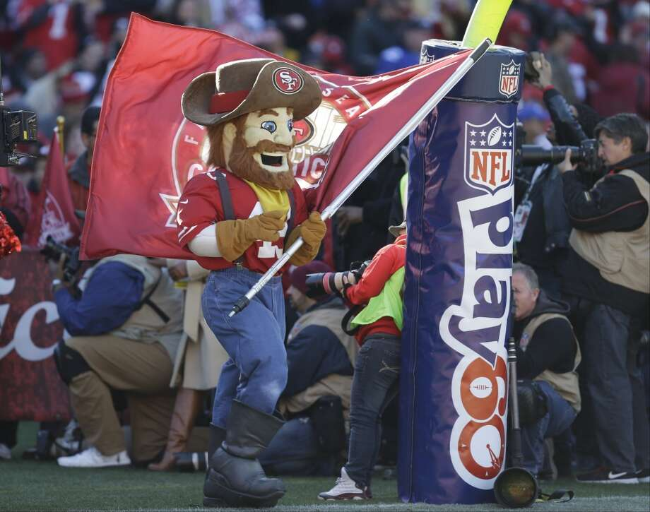 San Francisco 49ers mascot Sourdough Sam runs onto the field before an NFL football game against the Seattle Seahawks, Sunday, Dec. 8, 2013, in San Francisco. (AP Photo/Ben Margot) Photo: Ben Margot, AP
