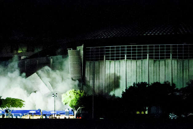 A pedestrian ramp on the southeast side of the Astrodome falls to the 
