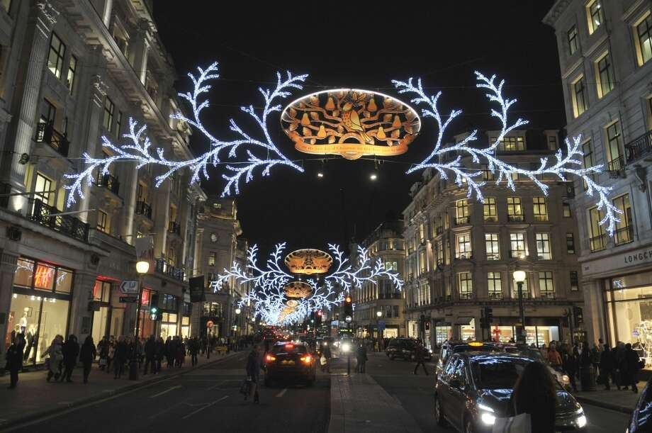 LONDON: Christmas lights illuminate Regent Street, one of the major shopping streets in the city's West End. Photo: John Keeble, Getty Images