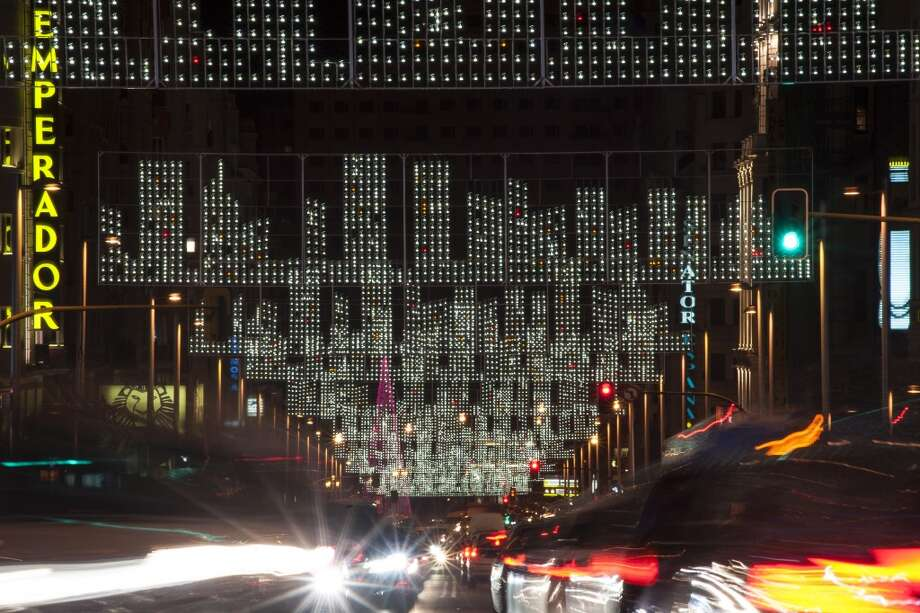 MADRID: Gran Via, central Madrid's main shopping boulevard, glitters with cityscape-inspired lights. Photo: Gabriel Solera, Getty Images