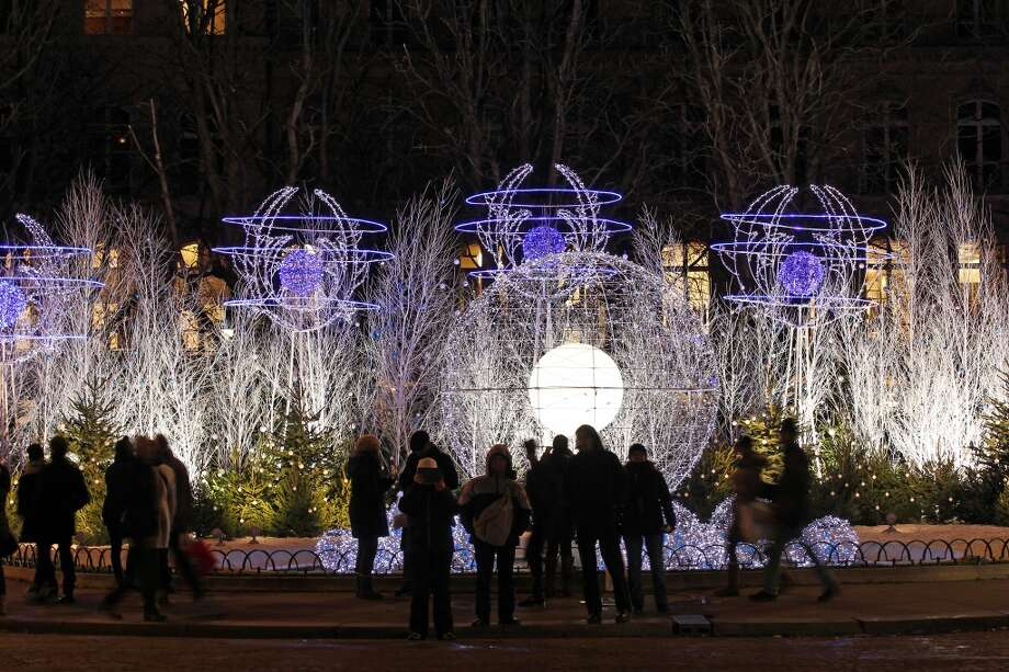 PARIS: Lights that change from white to purple to red bedeck the 200 plane trees lining Champs-Élysées. Photo: Chesnot, Getty Images