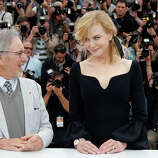 Jury president Steven Spielberg, left, and Nicole Kidman pose for photographers during a photo call for the jury at the 66th international film festival, in Cannes, southern France, Wednesday, May 15, 2013.