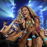 "Singer Beyonce performs on her ""Mrs. Carter Show World Tour 2013"", on Saturday June 29, 2013, in Las Vegas, Nevada."