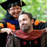 Ben Affleck reacts as he receives an honorary degree at Brown University's commencement in Providence, R.I., Sunday, May 26, 2013.