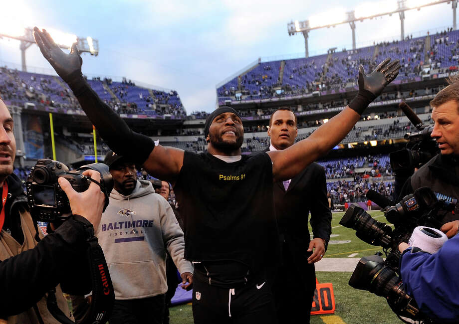 Baltimore Ravens inside linebacker Ray Lewis celebrates after an NFL wild card playoff football game against the Indianapolis Colts Sunday, Jan. 6, 2013, in Baltimore. The Ravens won 24-9. Photo: Gail Burton, ASSOCIATED PRESS / AP2013