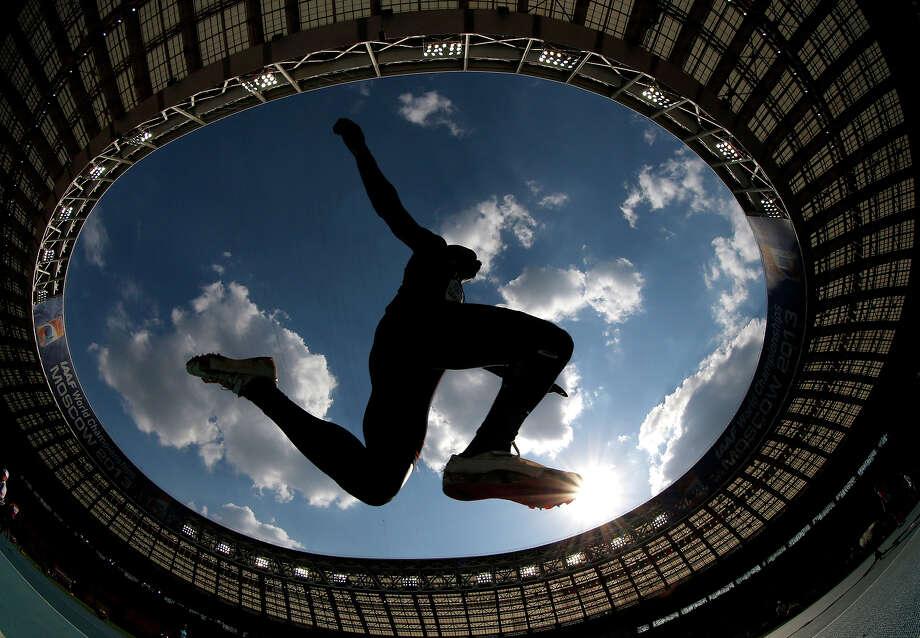 France's Gaetan Saku Bafuanga Baya makes an attempt in the men's triple jump final at the World Athletics Championships in the Luzhniki stadium in Moscow, Russia, Sunday, Aug. 18, 2013. Photo: Matt Dunham, ASSOCIATED PRESS / AP2013
