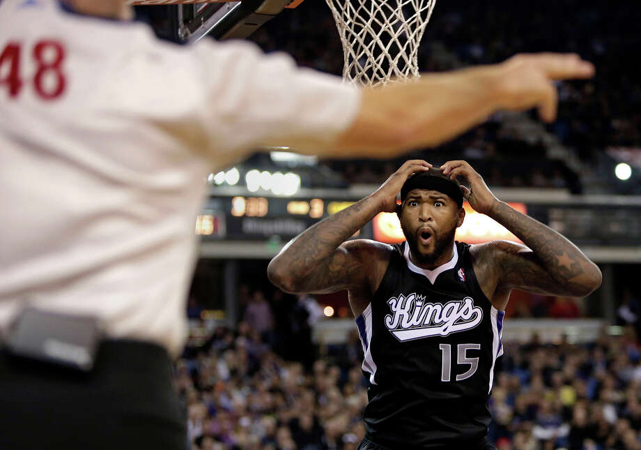 Sacramento Kings center DeMarcus Cousins (15) looks at official Scott Foster (48) after being called for a foul during the fourth quarter of an NBA basketball game against the Los Angeles Clippers in Sacramento, Calif., Friday, Nov. 1, 2013. The Clippers won 110-101. Photo: Rich Pedroncelli, ASSOCIATED PRESS / AP2013
