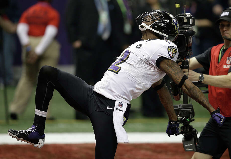 Baltimore Ravens wide receiver Jacoby Jones (12) reacts after returning a kickoff for a 108-yard touchdown against the San Francisco 49ers during the second half of the NFL Super Bowl XLVII football game, Sunday, Feb. 3, 2013, in New Orleans. Photo: Elaine Thompson, ASSOCIATED PRESS / AP2013