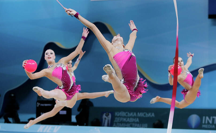 The team from USA performs during the 32nd rhythmic gymnastics world championships in Kiev, Ukraine, Saturday, Aug. 31, 2013. Photo: Efrem Lukatsky, AP / AP