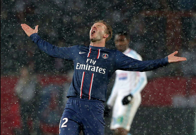 Paris Saint Germain's David Beckham reacts during their League One soccer match against  Marseille a