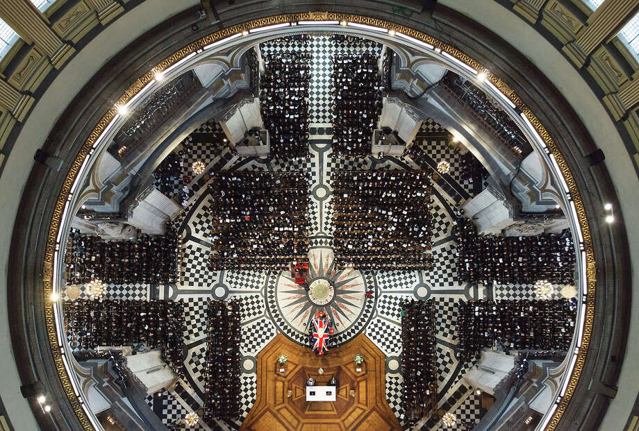 An overhead view of guests attending the ceremonial funeral of former British Prime Minister Margaret Thatcher at St Paul's Cathedral in London, Wednesday April 17, 2013. Photo: Dominic Lipinski, ASSOCIATED PRESS / AP2013