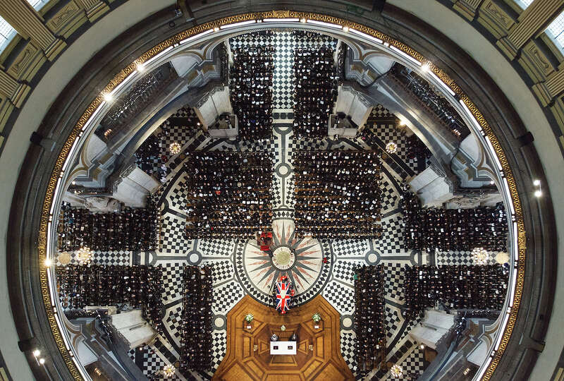 An overhead view of guests attending the ceremonial funeral of former British Prime Minister Margare