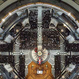 An overhead view of guests attending the ceremonial funeral of former British Prime Minister Margaret Thatcher at St Paul's Cathedral in London, Wednesday April 17, 2013.
