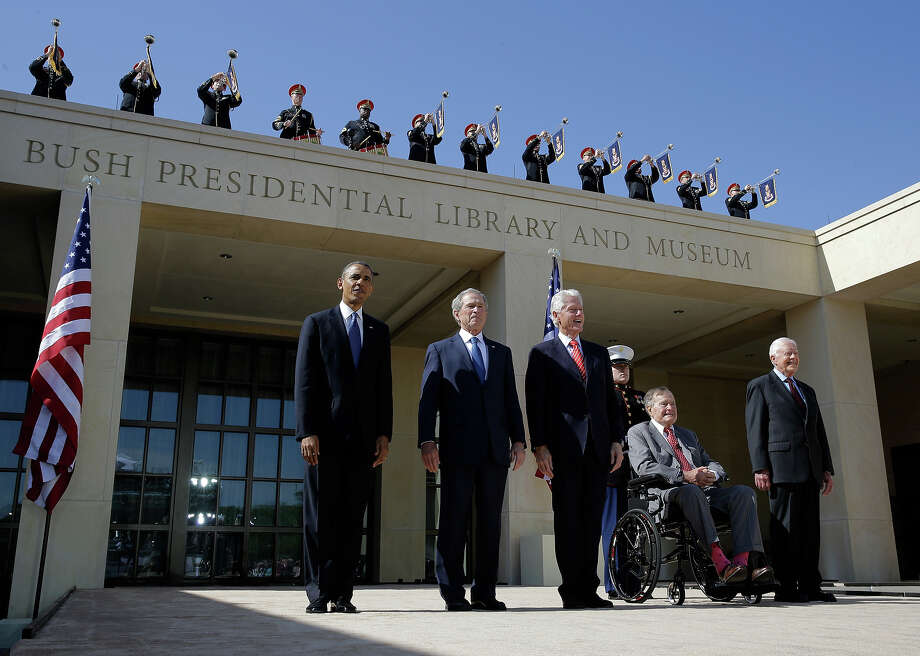 From left, President Barack Obama, former president George W. Bush, former president William J. Clinton former President George H.W. Bush and former president Jimmy Carter arrive for the dedication of the George W. Bush Presidential Center Thursday, April 25, 2013, in Dallas. Photo: David J. Phillip, ASSOCIATED PRESS / AP2013