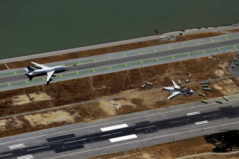 This aerial photo shows the crash site of Asiana Flight 214 at the San Francisco International Airpo