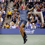 Rafael Nadal, of Spain, reacts after defeating Novak Djokovic, of Serbia, during the men's singles final of the 2013 U.S. Open tennis tournament, Monday, Sept. 9, 2013, in New York.
