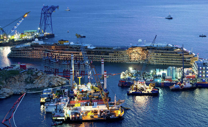 The Costa Concordia is seen after it was lifted upright, on the Tuscan Island of Giglio, Italy, earl