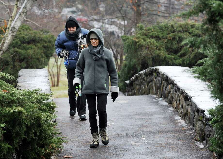 "Vicki and Pepe DeChiazza head back to their car after a wet and icy walk at Binney Park with Bella, their rescue ""designer"" dog in Greenwich, Conn. on Monday, Dec. 9, 2013.. Photo: Cathy Zuraw / Greenwich Time"
