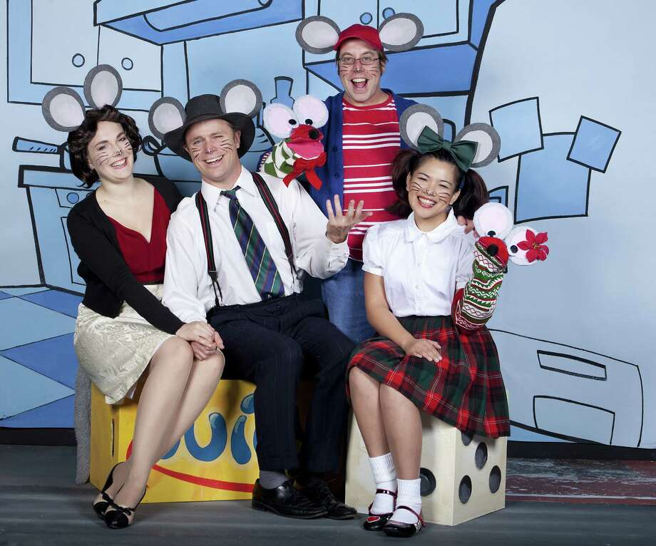 """Carolyn Dellinger (from left), John Stillwaggon, Jeremy Zenor and Lilly Canaria appear in Magik Theatre's """"Merry Christmas Mouse."""" Photo: Courtesy Magik Theatre"""