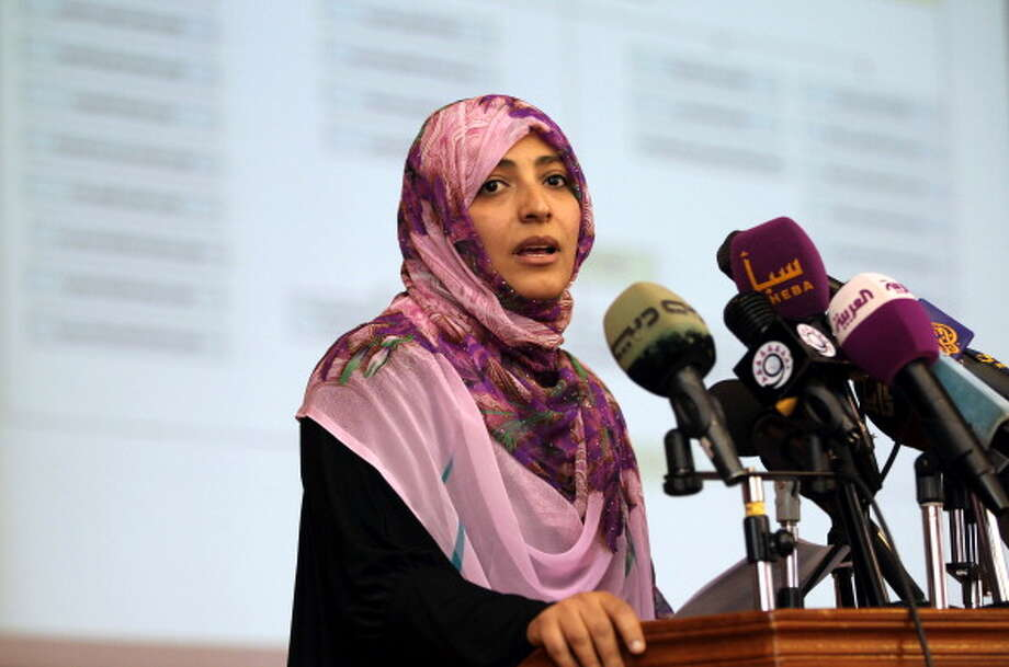 Tawakkol Karman was awarded in the Nobel Peace Prize in 2011 for her non-violent struggle for the safety of women and for women's rights. Photo: MOHAMMED HUWAIS, Getty / 2012 AFP
