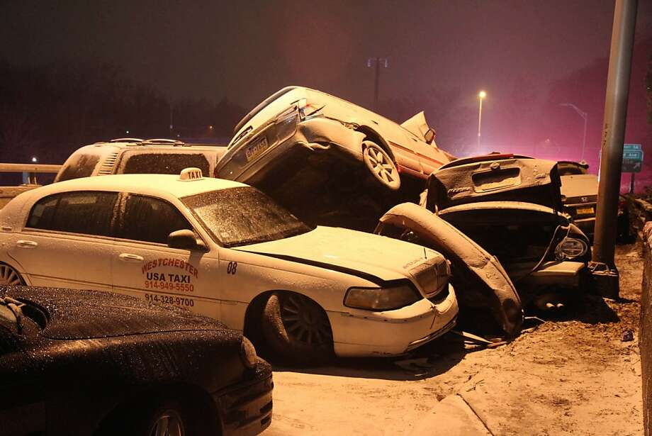 Icy roads caused numerous pileups, including this crash in Yonkers, N.Y., on the Bronx River Parkway. Photo: Associated Press