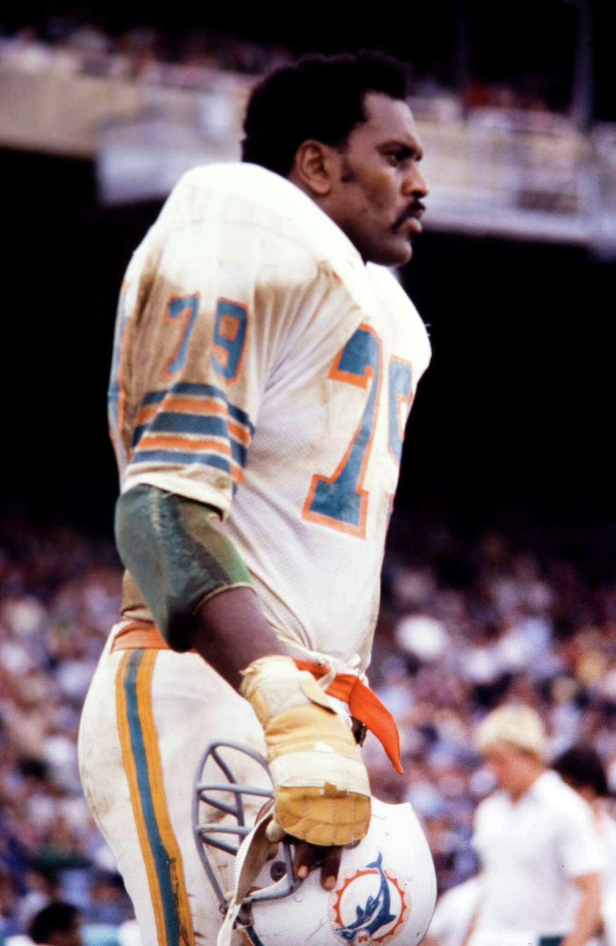 Miami Dolphins left tackle Wayne Moore (No. 79) was a star in basketball, not football at Lamar. Despite not playing a down of college football, Moore would go on to become a Pro Bowl left tackle for one of the NFL's storied franchises. -- Courtesy of the Miami Dolphins