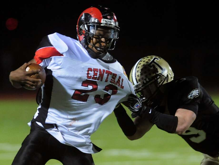 Morris accounted for an astounding 505 yards in Central's 24-21 comeback victory over Ludlowe, the Hilltoppers' first win. He ran 22 times for 285 yards and 3 TDs, including scoring runs of 10 and 79 yards, and completed 7-of-14 passes for 220 yards. Photo: Christian Abraham