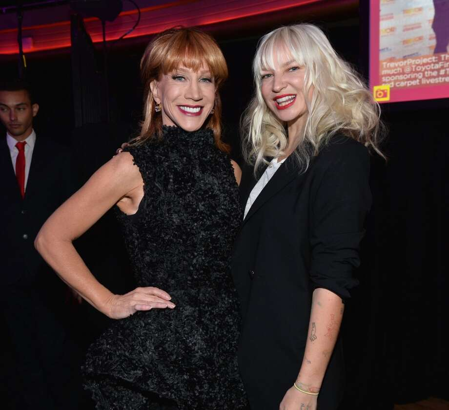 "Host Kathy Griffin (L) and singer Sia attend ""TrevorLIVE LA"" honoring Jane Lynch and Toyota for the Trevor Project at Hollywood Palladium on December 8, 2013 in Hollywood, California.  (Photo by Alberto E. Rodriguez/Getty Images for Trevor Project) Photo: Alberto E. Rodriguez, Getty Images For Trevor Project"