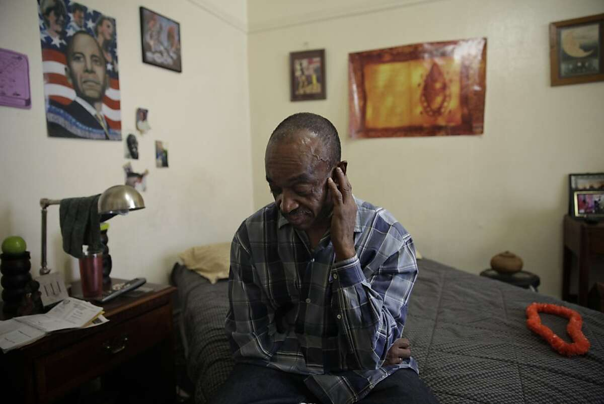Donnel Fuller of San Francisco sits in his room at the Senator Hotel on Thursday, November 14, 2013 in San Francisco, Calif.