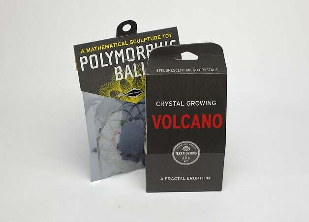 KIDS' STUFF: Between squeezing the Polymorphic Ball, $3.49, into shapes without formulas, and changing the surface of the Earth with a Crystal Growing Volcano, $7.49, the holidays could get interesting. Both available at Cole Hardware, 956 Cole St. Photo: Russell Yip, The Chronicle