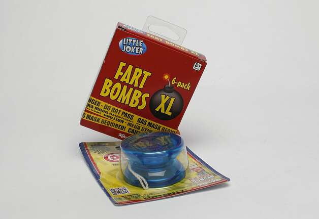 KIDS' STUFF: Oh yes, you do so know a person (XS-XXL) who deserves a 6-pack of Fart Bombs, $2.99, or a Duncan butterfly yo-yo, $5.99, both Cole Hardware, 956 Cole St., (415) 753-2653. Photo: Russell Yip, The Chronicle