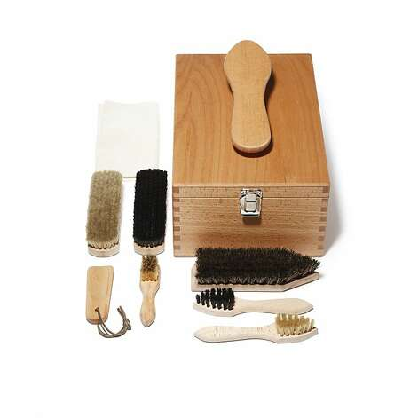 MEN'S: All necessary tools are in Redecker's classic wooden shoebox with a handle that doubles as a shoeshine platform, $150, www.fellowbarber.com. Photo: Fellow Barber