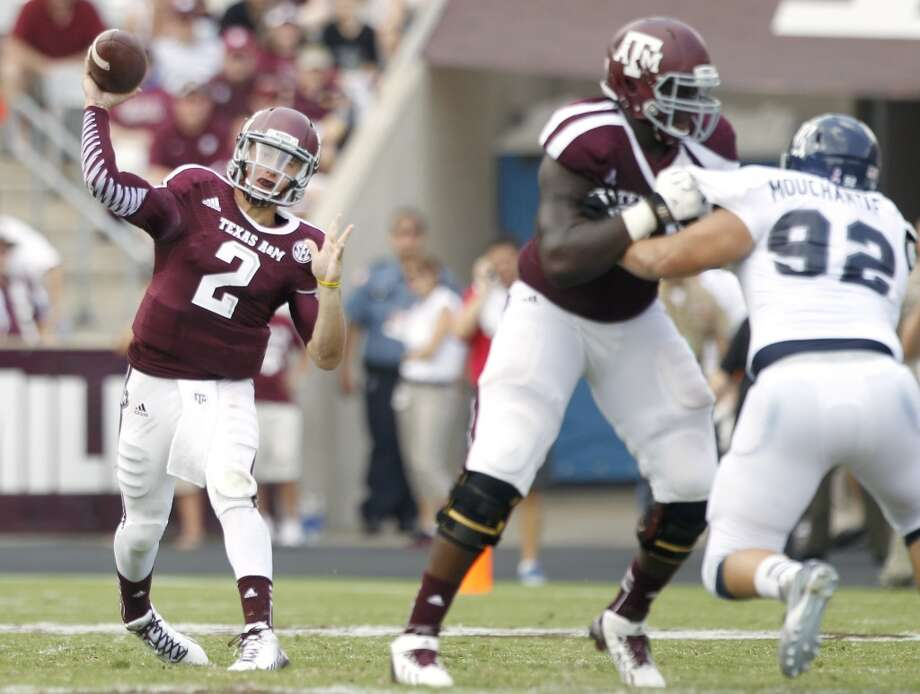 Texas A&M 52, Rice 31 Aug. 31, 2013  After serving a first-half suspension for violating NCAA rules involving signing autographs, Manziel put his signature on the season opener. He completed 6 of 8 passes for 94 yards and three touchdowns. Photo: Brett Coomer, Houston Chronicle