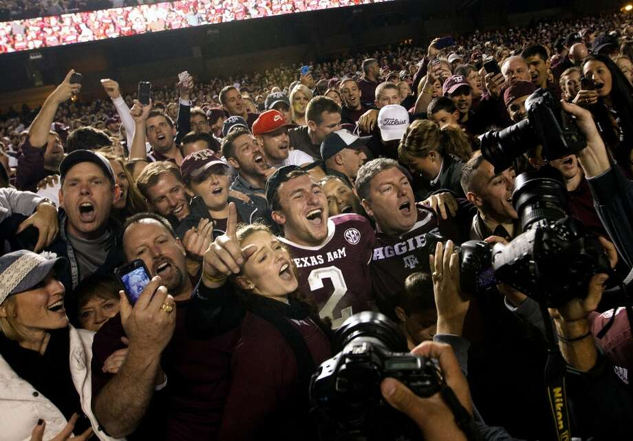 Texas A&M 51, Mississippi State 41 Nov. 9, 2013  Manziel surpassed the 400-yard mark for a fourth time with 446 and five TDs in likely his final game at Kyle Field in College Station. Photo: Cody Duty, Houston Chronicle