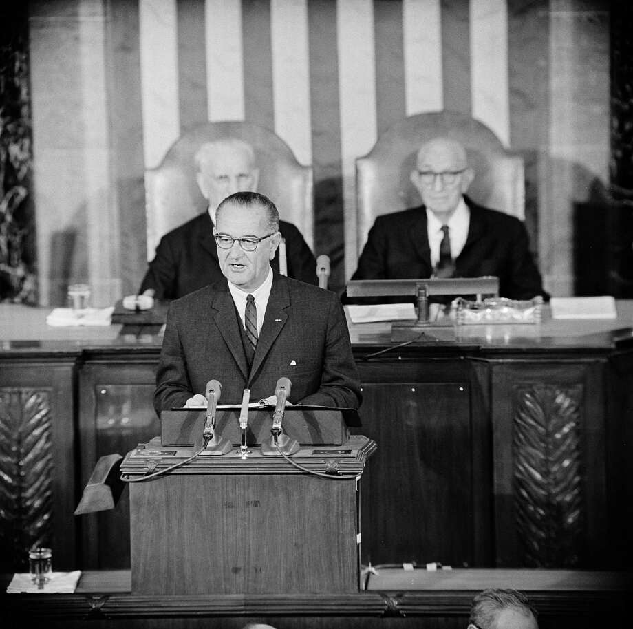 President Lyndon B. Johnson in his State of the Union message before a joint session of Congress on Jan. 8, 1964. Photo: Uncredited, Associated Press / AP1964