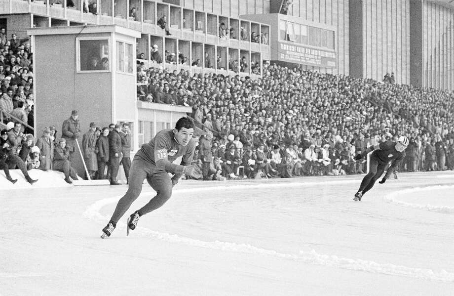 Terry McDermott, 23, skates in the 500-meter speedskating event on his way to first place and the first and only U.S. Olympic gold medal at the ninth Winter Olympic games at Innsbruck, Austria on Feb. 4, 1964. McDermott, a barber from Essexville, Michigan, trimmed one-tenth of a second off the Olympic record by speeding tghe 546.8 yards in 4.1 seconds. Photo: John Rider-Rider, Associated Press / AP