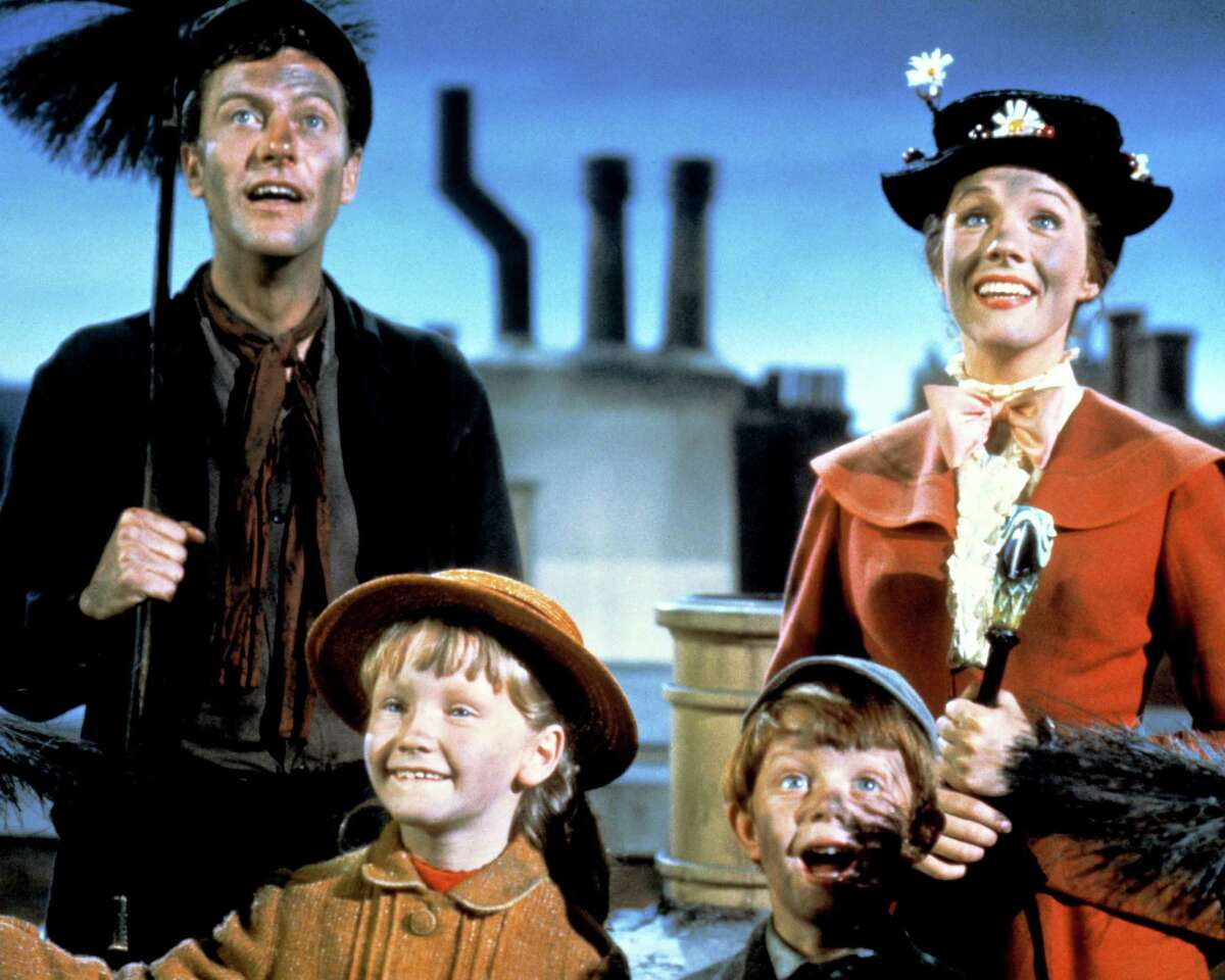 Dick Van Dyke as Bert, Julie Andrews as Mary Poppins, Karen Dotrice as Jane Banks and Matthew Garber as Michael Banks in the Disney musical