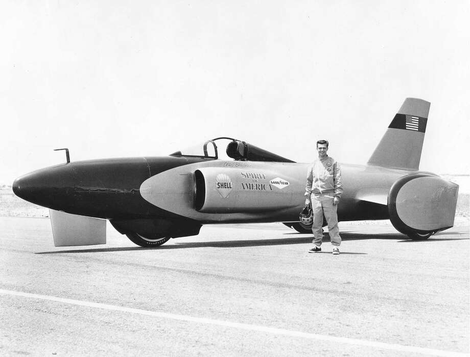 "Craig Breedlove poses with his ""Spirit of America"" jet-powered car in Bonneville Salt Flats, Utah in 1964. Breedlove became the first driver to go over 500 mph on land with this car in 1964. Photo: RacingOne, Getty Images / 2010 RacingOne"