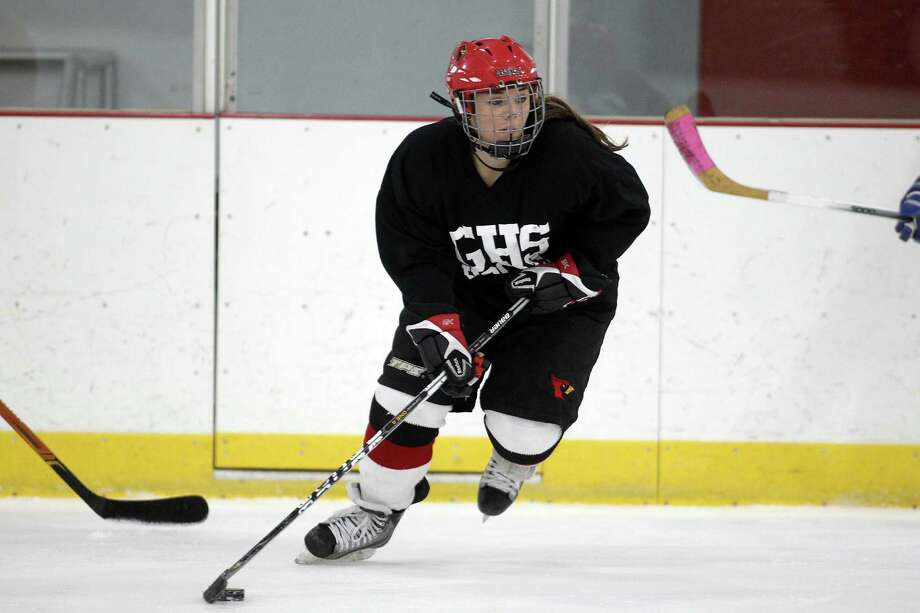 Cardinal hockey captain Erin Ferguson figures to be in the thick of FCIAC play as the center leads her Cardinal teammates towards another successful season. Prcatice was held at Hammil Rink in Greenwich. Conn/ on Monday, Dec. 9, 2013. Photo: J. Gregory Raymond / Stamford Advocate Freelance;  © J. Gregory Raymond