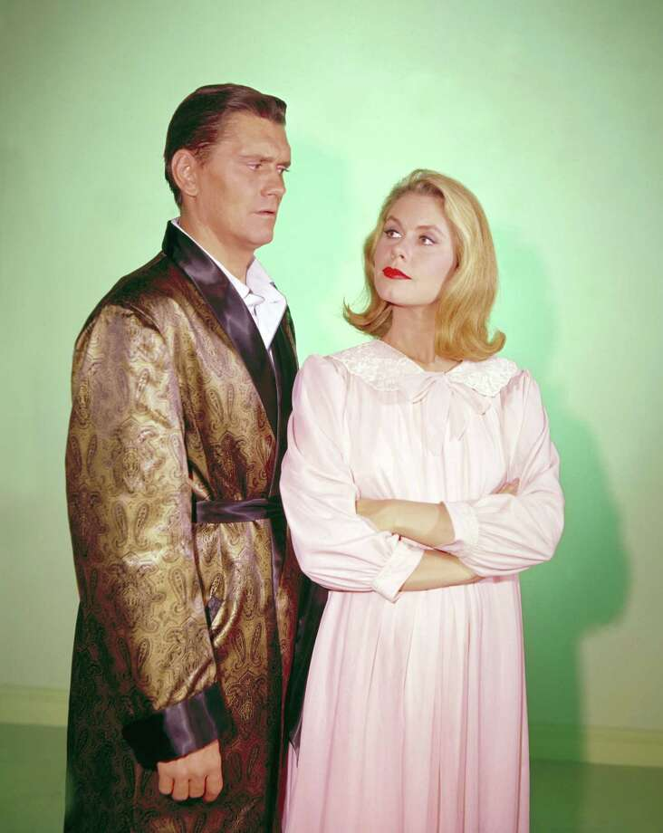 "Dick York as Darrin Stephens and Elizabeth Montgomery as Samantha Stephens in a promotional photo for ""Bewitched,"" Sept. 17, 1964. Photo: ABC PHOTO ARCHIVES, Getty Images / ©1964, ABC Photo Archives. All rights reserved. For editorial use only. NO ARCHIVING, NO RESALE."