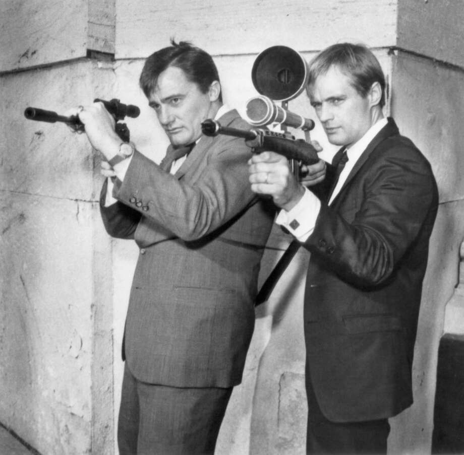 "Actors Robert Vaughn as Napoleon Solo and David McCallum as Illya Kuryakin appear in a scene from ""The Man from U.N.C.L.E."" Photo: NBC, Getty Images / © NBC Universal, Inc."