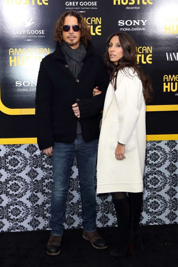 """Chris Cornell (L) and Vicky Karayiannis attend Grey Goose Vodka and Vanity Fair present in part the world premiere of Columbia Pictures And Annapurna Pictures """"American Hustle"""" at Ziegfeld Theater on December 8, 2013 in New York City.  (Photo by Monica Schipper/Getty Images for Grey Goose) Photo: Monica Schipper, Getty Images For Grey Goose"""