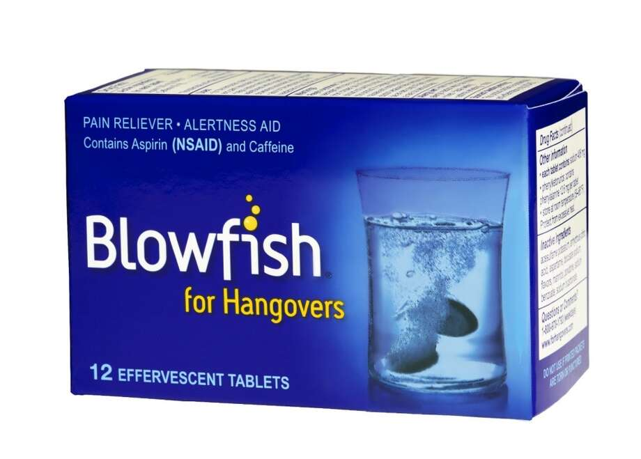 "Blowfish, $11.99.  When a sample of Blowfish showed up in the mail, I was skeptical — what can this little packet do to alleviate hangovers that I haven't already tried? After a particularly rowdy Friday night, I was in no condition to turn down potential solutions to my growing problem.  Lo and behold, my hangover dissolved faster than these little tablets did. Blowfish is just aspirin  and caffeine delivered in an Alka Seltzer-like package, but it's so much more effective than popping a pill and downing a cup of Joe.  ""Effervescent tablets work twice as fast as regular pills and create an alkaline buffer that protects your stomach,"" the Blowfish website explains. ""This matters because alcohol triggers your stomach to overproduce hydrochloric acid. So does coffee. Pharmaceutical caffeine (the stuff in Blowfish) is much easier on the stomach than coffee."" As a fervent user of Alka Seltzer in hangover situations, I can say Blowfish tasted sweeter and created an all-around pleasant experience as I gulped it down from my slouched position on the kitchen floor. Within 10 minutes, I was out the door — without sunglasses! — and on my way to a big, heaping plate of Casual Entrees' eggs Benedict.  Gimmick or not, I go with what works. This did — and it'll make a great stocking stuffer for the perpetually hungover in your household.  Buy it: forhangovers.com or in the pain reliever aisle at CVS Photo: Provided By The Manufacturer, Courtesy"