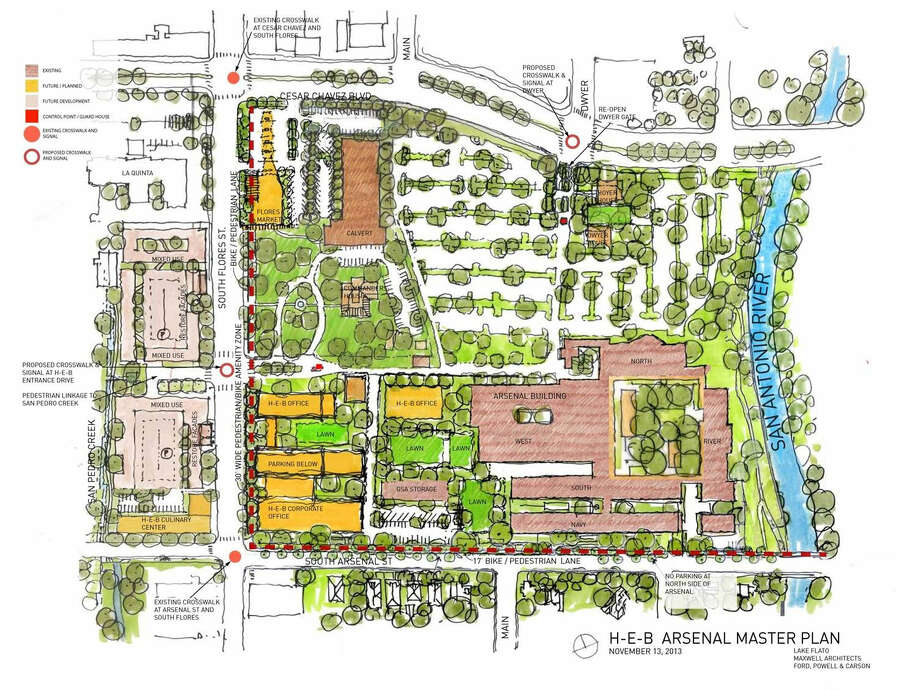 A revised rendering of H-E-B's master plan for its downtown headquarters, provided Nov. 21, 2013, shows where the grocer would fund street upgrades to help absorb traffic from South Main Avenue. Photo: COURTESY
