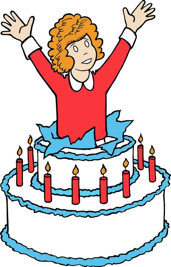 "Annie from the ""Annie"" comic strip jumps out of a cake in a drawing done by Leonard Starr as a special illustration for Annie's 75th anniversary. The comic strip, which debuted in 1924, ended its original run and went to reprints in 1974. It was revived after the Broadway musical in 1979, and ran until it was canceled in 2010. Photo: Associated Press / Tribune Media Services Inc."