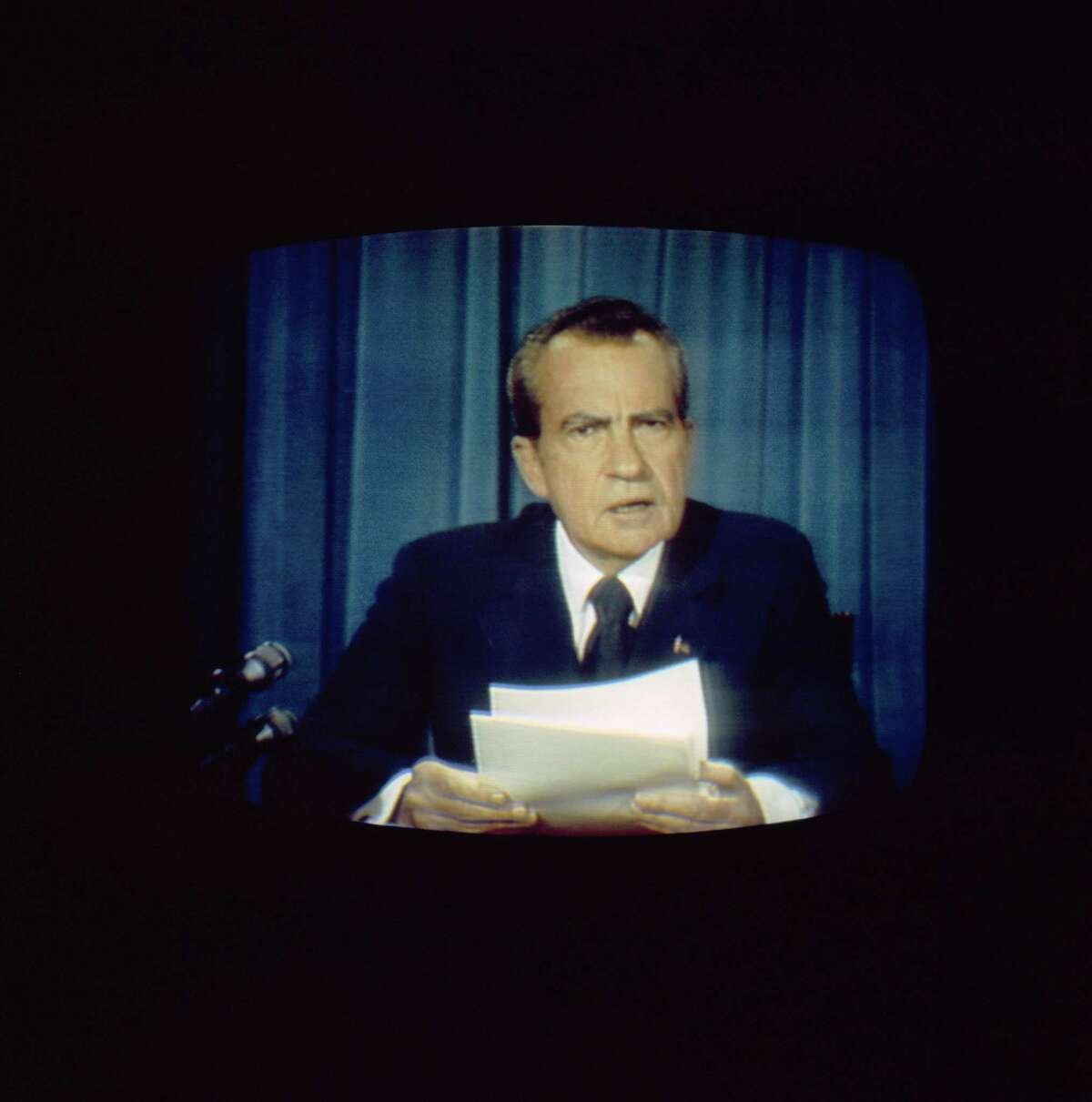 President Richard Nixon gives his resignation speech from the Oval Office at the White House in Washington D.C., on Aug. 8, 1974