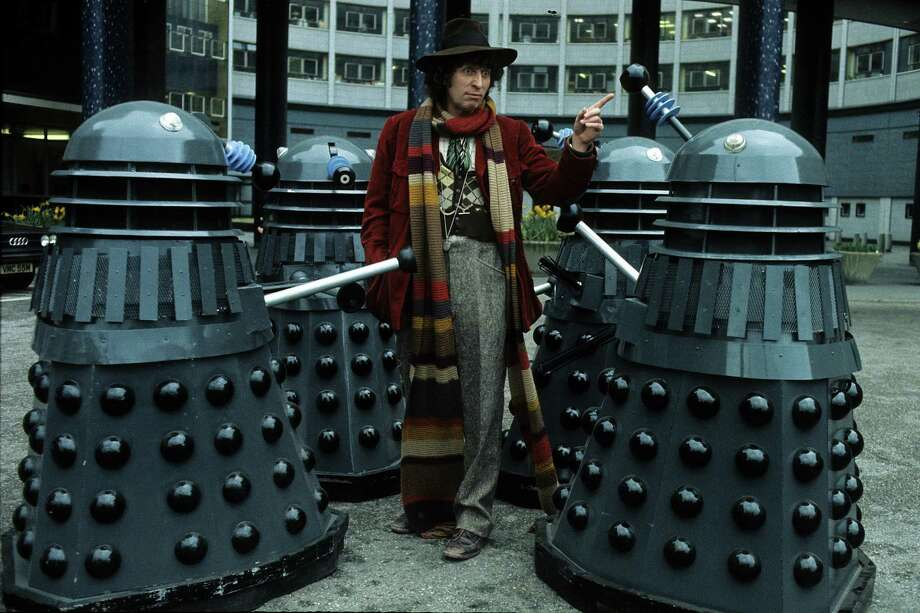 Actor Tom Baker in his role as the fourth incarnation of Doctor Who in the British science fiction television series of the same name. With him are his arch-enemies the Daleks in 1975 in London. Photo: Anwar Hussein, Getty Images / 1975 Anwar Hussein