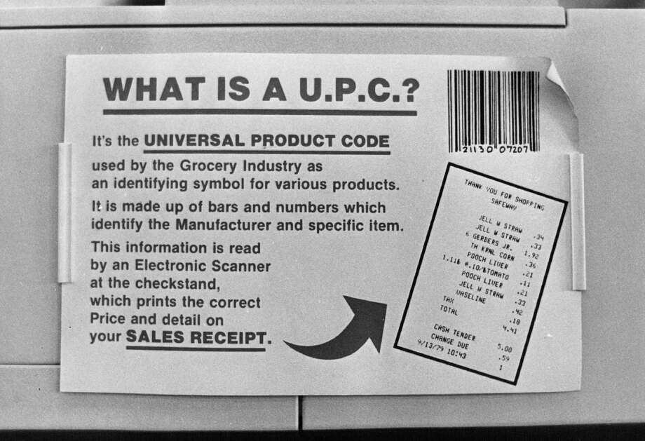 A sign introduces shoppers at an Aurora, Colo., Safeway to the to the UPC system in 1980. On June 26, 1974, a 10-pack of Juicy Fruit gum at the Marsh supermarket in Troy, Ohio, was the first UPC item scanned. Photo: ------, Getty Images / (C) 2010 The Denver Post, MediaNews Group