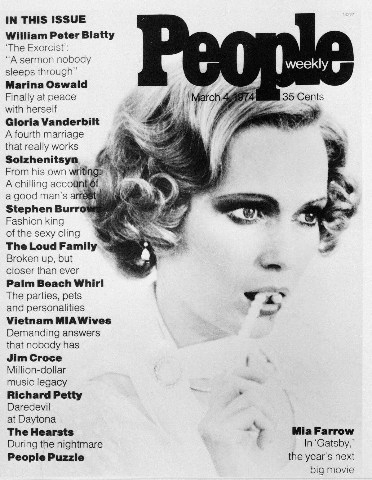 A portrait of Mia Farrow graces the cover of People magazine's first issue, March 4, 1974.