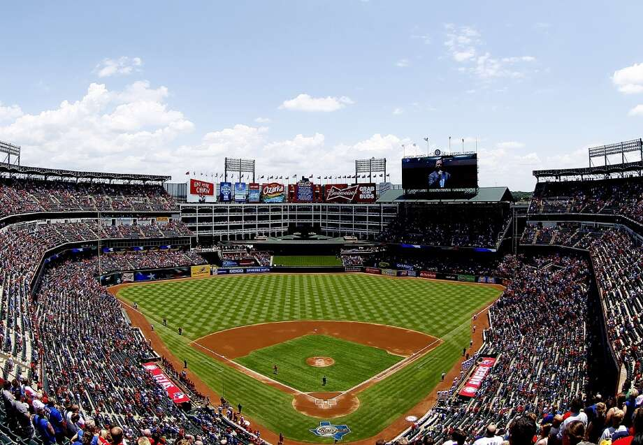 6. Rangers Ballpark:  Although the Texas Rangers didn't make it to the World Series in 2013, the team's home in Arlington, Texas, scored high on Facebook's check-in list. Photo: R. Yeatts, Getty Images